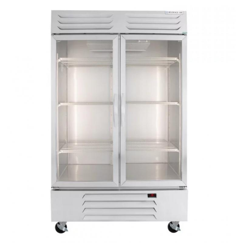 Two Section Glass Door Reach-In Refrigerator